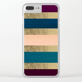 Geometrical coral navy blue burgundy gold watercolor Clear iPhone Case