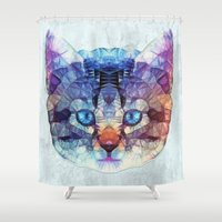kitten Shower Curtains featuring abstract kitten by Ancello