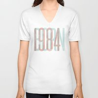 1984 V-neck T-shirts featuring BORN 1984 by jordanwlee.com