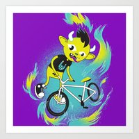 Monster Pixie Riding a Fixie Art Print
