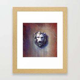 Lion Head Red Marble Framed Art Print