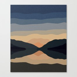 Sunset Mountain Reflection in Water Canvas Print