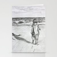 toddler Stationery Cards featuring Toddler on the Beach Drawing by DonnaBellas