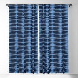 Indigo blue geometric hand drawn tie dye shibori pattern. Blackout Curtain