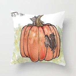 Baby Bats at the Pumpkin Patch Throw Pillow