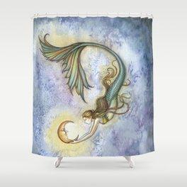 Deep Sea Moon Fantasy Mermaid Art Illustration by Molly Harrison Shower Curtain