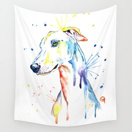 Greyhound Colorful Watercolor Pet Portrait Painting Wall Tapestry