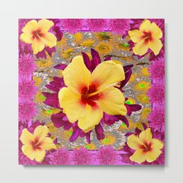 Decorative Golden Yellow Red Tropical Hibiscus Patterns Metal Print