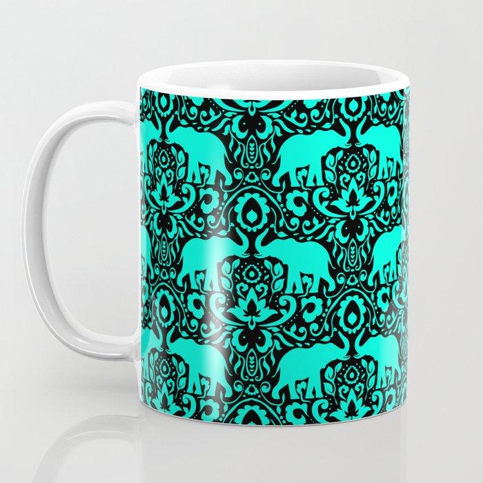 Elephant Damask Mint and Black Coffee Mug