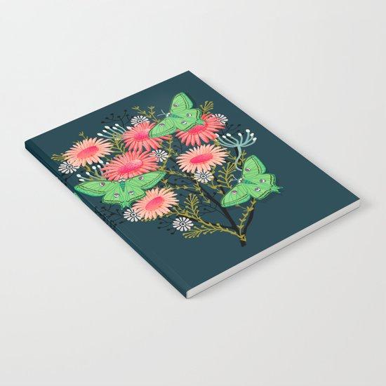 Luna Moth Florals by Andrea Lauren  Notebook