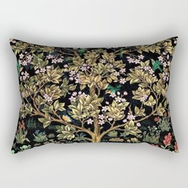 William Morris Northern Garden with Daffodils, Dogwood, & Calla Lily Floral Textile Print Rectangular Pillow