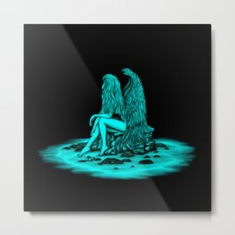 Angel lost in thought , black and green Design Metal Print