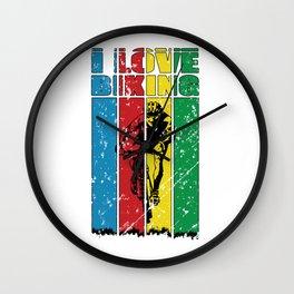 I Love Mt Biking - Mt Biking - Cycling Colors - Great Gift For Bikers - Multi Color & Black Logo Design - Distressed Look Wall Clock