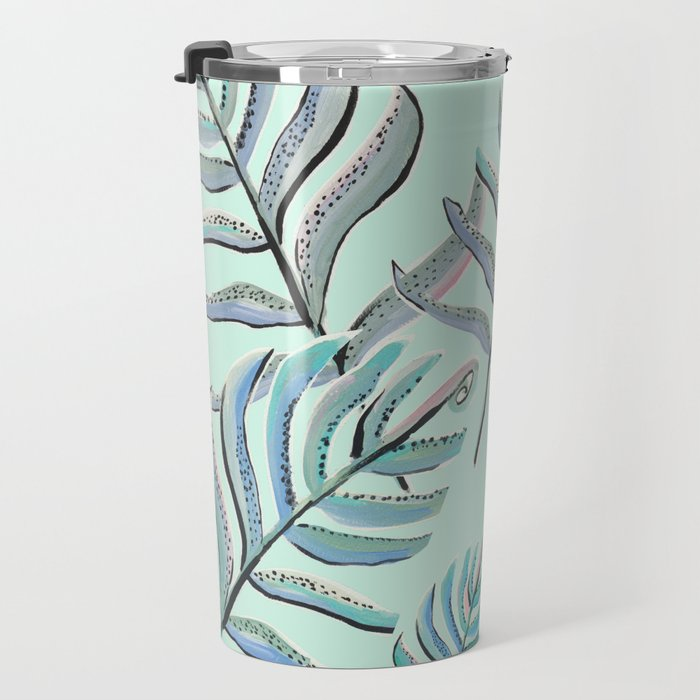 Pastel Ferns in Mint Travel Mug