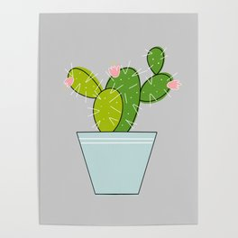 Blooming Cactus   Light Gray Poster