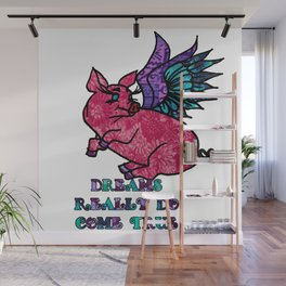 Pig with Wings Dreams Really Do come True Retro Fabric Collage Pig Lovers Gift Wall Mural