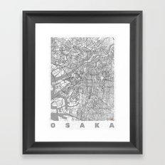 Osaka Map Line Framed Art Print