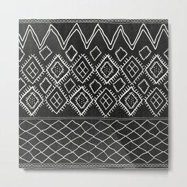 Beni Moroccan Print in Black and White Metal Print