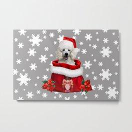White Poodle Santa Claus - Nutcracker Christmas bag Snowflakes Metal Print