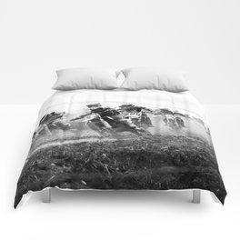 Motocross black white Comforters