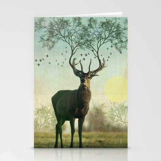 Evergreen Stage Horn Stationery Cards