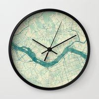 seoul Wall Clocks featuring Seoul Map Blue Vintage by City Art Posters