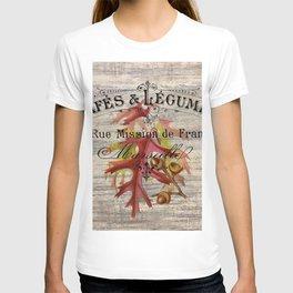 Fall autumn harvest french botanical print oak leaf acorn T-shirt
