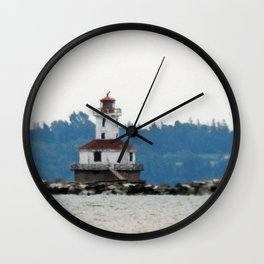 Indian Head Lighthouse from across the Bay Wall Clock