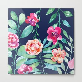 Pink Watercolor Flowers and Green Leaves on Navy Background Metal Print