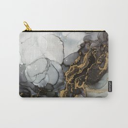 Black Gold Marble Storm Carry-All Pouch