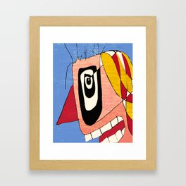 Crazy Clown Drawing Portrait Framed Art Print