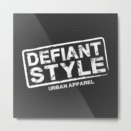 Defiant Style Logo  [White] Metal Print