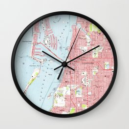 Vintage Map of Clearwater Florida (1974) Wall Clock