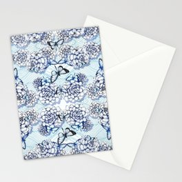 Succulent Motif and Butterfly # Cerulean Blue Stationery Cards