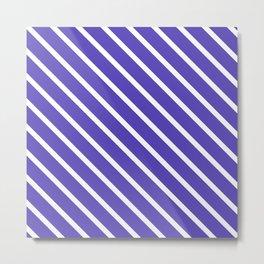 Lavender Blue Diagonal Stripes Metal Print