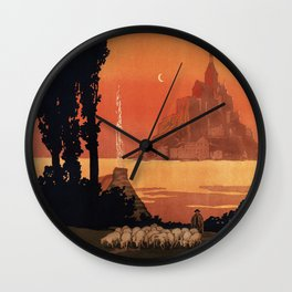 Mont St Michel, French Travel Poster Wall Clock