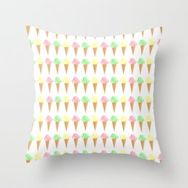 Vanilla, Mint, and Strawberry Ice Cream Cone Pattern Throw Pillow