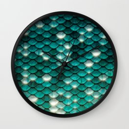 Turquoise sparkling mermaid glitter scales - Mermaidscales Wall Clock