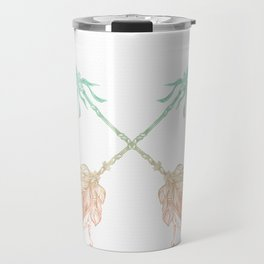 Arrows Turquoise Coral on White Travel Mug