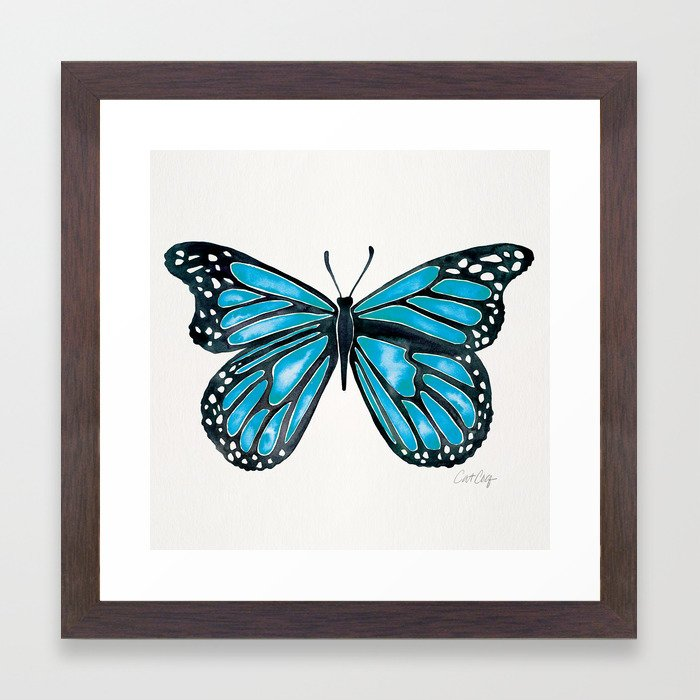 Blue Morpho Butterfly Framed Art Print by catcoq | Society6