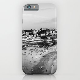 Carvoeiro town and beach in Lagoa, Algarve, Portugal. Black and White. iPhone Case
