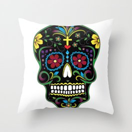 Sugar skul black Throw Pillow