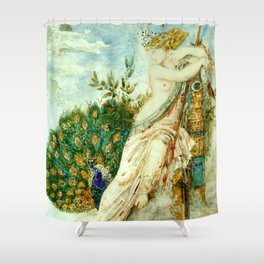 "Gustave Moreau ""The Peacock Complaining to Juno"" Shower Curtain"