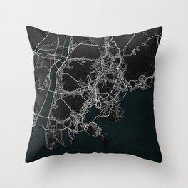 Busan City Map of South Korea - Dark Throw Pillow