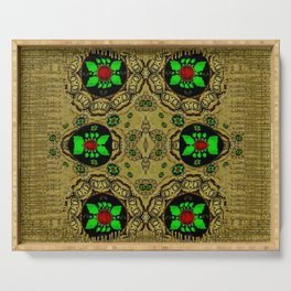 Namaste gold and florals in popart Serving Tray