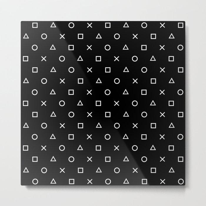 Gamer Pattern (White on Black) Metal Print