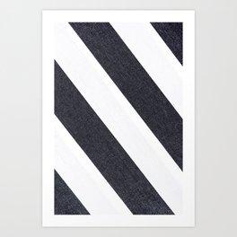 White & Black Stripes Art Print
