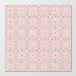 Pastel coral blue orange abstract cross stich pattern Canvas Print