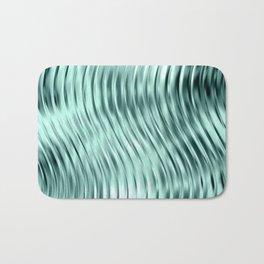 Modern Abstract Shiny Waves Glass Optical Illusion,Reflective Light, Ocean Teal Bath Mat