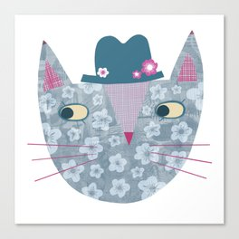 Flowery Cat in a Flowery Hat Canvas Print